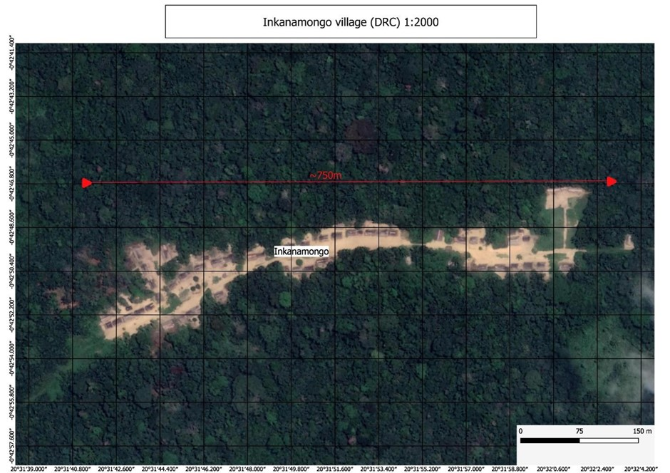 Satellite image of a village with the word Ikanamongo in the centre and a horizontal arrow across the image labelled 750m
