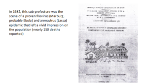 Black and white image of a report on the Madina oubtreack